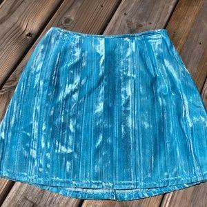 Aqua Blue Velour Mini Skirt sz Small Michelle